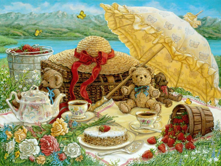A Beary Nice Picnic, a sumptuous lakeside repast, including flowers and strawberries, set for two little brown teddy bears, one of the Janet Kruskamp Teddy Bear Gallery of original paintings hand by Janet Kruskamp