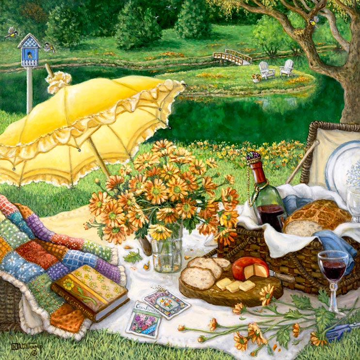 A Lazy Daisy Afternoon by painter Janet Kruskamp. A light yellow parasol leaning on its side highlights this picnic ready to commence. The french bread and cheese have been sliced, the red wine has been poured. A colorful handmade quilt cascades out of another basket with a favorite book holding down the bottom edge. A clear glass vase holds fresh daisies, with more cut daisies laying along the edge of the white blanket holding the picnic. The beautiful picnic grounds continue down to a still pond. A small island, accessible by a small bridge, holds a couple of garden chairs. A blue bird house sits atobe a white pole behind the picnic. Own your own high quality giclee of this original oil painting by artist Janet Kruskamp.