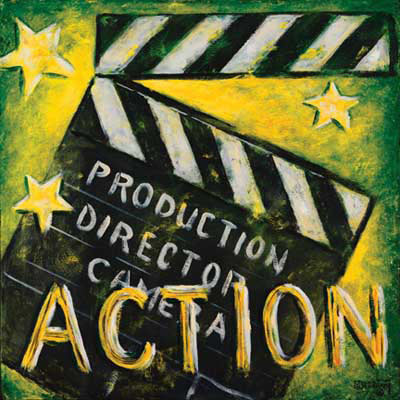 Janet Kruskamp presents Action, one of her vintage movie poster collection. The bright yellow and green background of this poster make the clapper board jump right out at you. This poster is the final step in the movie production sequence LIGHTS, CAMERA, ACTION. The director yells ACTION, someone marks the beginning of the scene with a clack of the marker being snapped together. The sharp sound helps synchronize the sound to the film, matching the split second of the film when the clapper closes with the sharp sound on the soundtrack. The chalk board part of the bottom of the clapper lists production, director, camera, and on top of them near the bottom of the poster is the weathered word ACTION. Three golden stars complete this wonderful addition to your home theater.