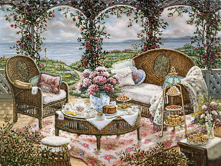 Janet Kruskamp's Paintings - Afternoon Tea, a painting of a lovely outdoor formal afternoon tea on the carpeted ground, the flowered posts holding a canopy framing the sweep of the coastline in the background. The tea is set with all the cakes and biscuits on china, placed on wonderful wicker furniture that have pillows and comforter at the ready. One of the Gardens and Florals Gallery of Original Oil Paintings and  original paintings by Janet Kruskamp