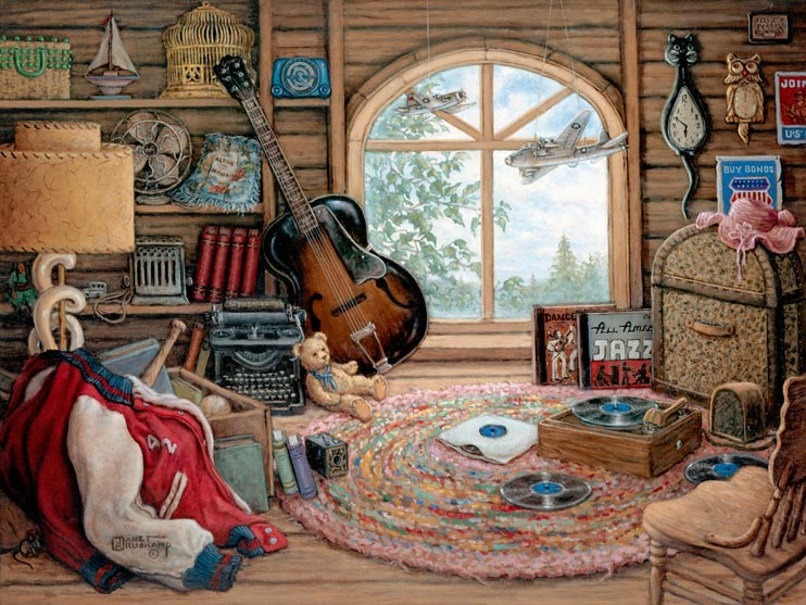 Attic Treasures, a painting of an attic window framed by many memorable items including an old 78rpm phonograph with records, a guitar, school letter jacket, model planes hanging from the ceiling and many items on the shelves and wall. From Janet Kruskamp's Interior and Exterior Scenes Paintings Gallery, offering original oil paintngs by Janet Kruskamp.