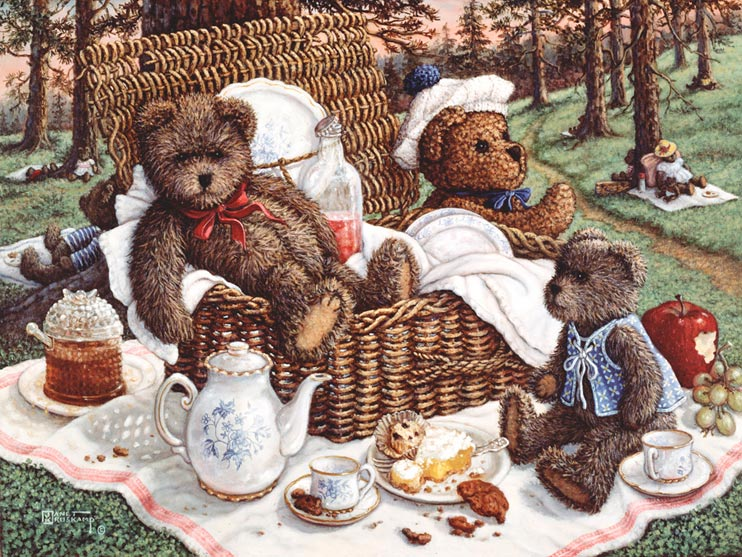 Bears Picnic, a painting of ma and pa bear sitting in the wicker picnic basket while baby bear sits with tea and dessert, one of the Janet Kruskamp Teddy Bear Gallery of  original paintings by Janet Kruskamp