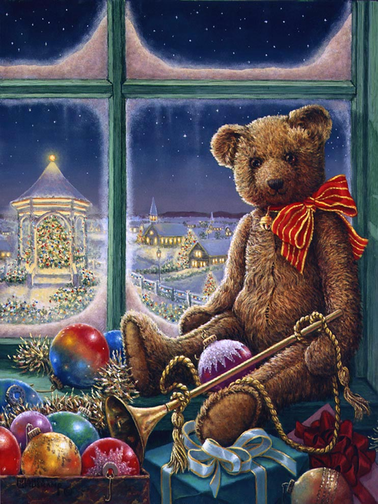 Bentley Bear Celebrates Christmas, and new holiday painting from Janet Kruskamp. Bentley Bear, wearing a bright red with gold lines ribbon tied around his neck, sits on the window sill in front of a frosty winter window. Surrounded by toys, presents and ornaments, Bentley holds a long brass horn down his near side. The night landscape through the window is brightly lit with holiday lights, the gazebo outside is glowing with light, illuminating a broad Christmas tree that fills the gazebo. Even the buildings in the distance glow with a soft light. One of Janet Kruskamp's new holiday paintings available directly from the artist, Janet Kruskamp.