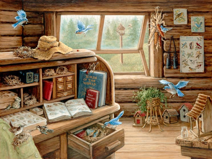 Bird Watchers Retreat a painting of a mountain cabin filled with books and memorbelia collected over the years by an avid birdwatcher. Books illustrating feathers and boxes of bird eggs, an old box camera, posters of birds and the birds themselves nesting in the cabin, can be seen everywhere. From Janet Kruskamp's Interior and Exterior Scenes Paintings Gallery, featuring original oil paintngs by Janet Kruskamp