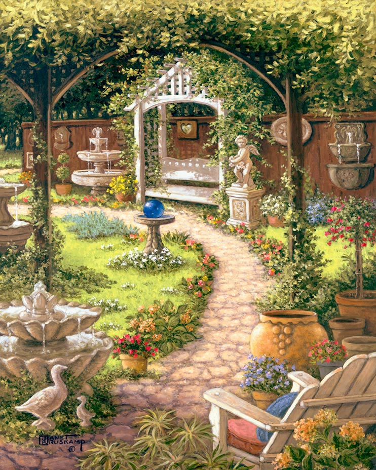 Janet Kruskampu0027s Paintings   Blue Gazing Ball, A Painting Of A Back Yardu0027s  Cobblestone Path