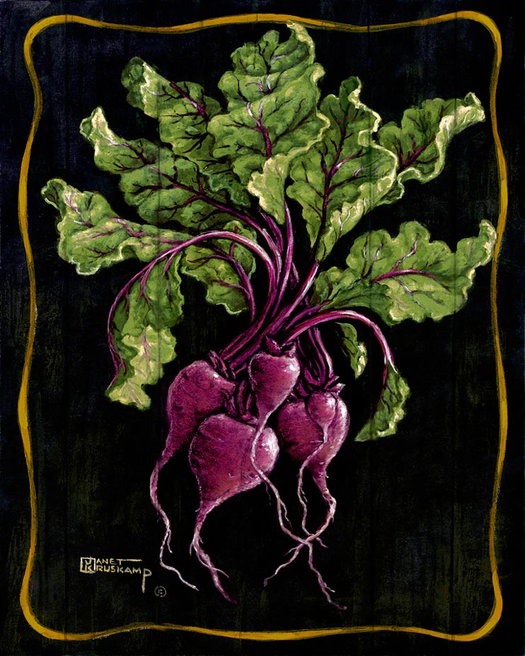 Ms. Kruskamp uses an assortment of purples to make these beets look fresh from the garden. The purple color of the beets spreads into the green leaves helping the bouquet fill the enhanced canvas. The antique background and border make Janet Kruskamp's painting original and beautiful. All have been by the author.