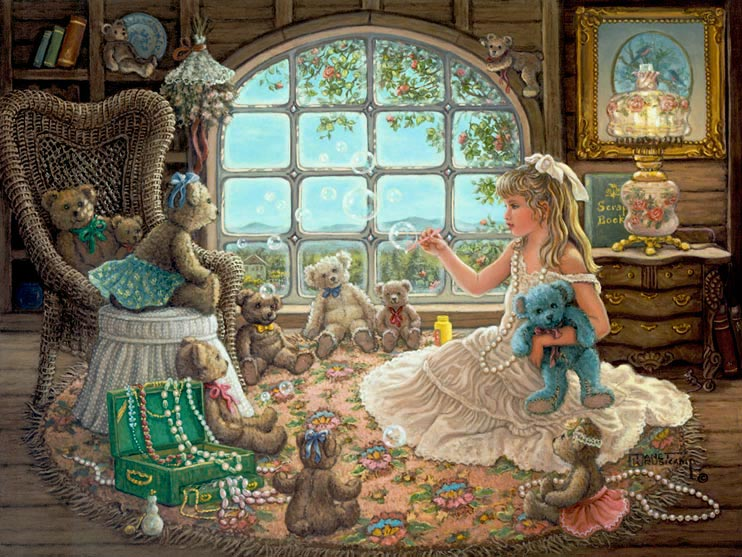 Bright Visions, a painting of a beautiful blond little girl playing dress up and blowing bubbles for her teddy bears in the attic filled with an antique lamp and dresser, wicker chair and open jewelry box, one of Janet Kruskamp's Paintings in her Figure and Genre Gallery - original oil paintngs by Janet Kruskamp