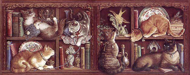 Capricious Cats, a painting by Janet Kruskamp showing six different types of cats on two bookshelves in various poses of play or rest, - Cat Paintings Gallery - original oil paintngs by Janet Kruskamp.