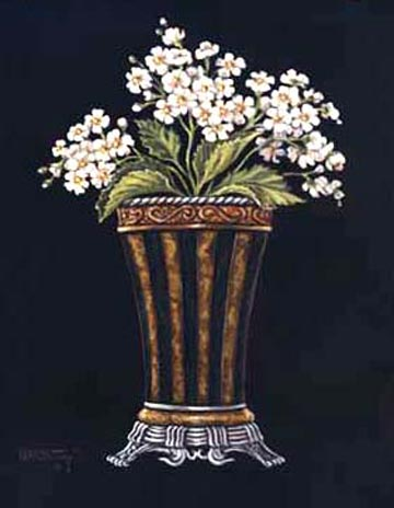 Classic white Mums fill this beautiful vase. Janet Kruskamp used a black background to bring out the details in this oriental style vase. Ms. Kruskamp loves small details. We can tell this by looking at the details in this vase. Notice the intricate design along the top and the bottom of this vase. a beautiful giclee personally enhanced by Janet Kruskamp.