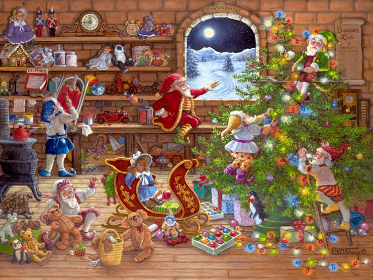 Countdown to Christmas, a new holiday painting from Janet Kruskamp. In this painting from artist Janet Kuskamp, Santa's elves are working on the final touches for Santa's deliveries. Toys are everywhere, the shelves on the wall, on the floor, under the workbench. Stuffed teddy bears, dolls, cars, toy soldiers and a beautiful red sleigh are also ready to go. The clock on the top shelf shows a quarter to midnight while one elf puts the finishing touches on a sled. Another one is putting the final stitches in a teddy bear, and two more are finishing the tree decorations - one hanging lights and the other elf stringing the glowing lights that are across the floor in the foreground. The long scroll of Santa's list hangs on the wall, and a calendar shows December.