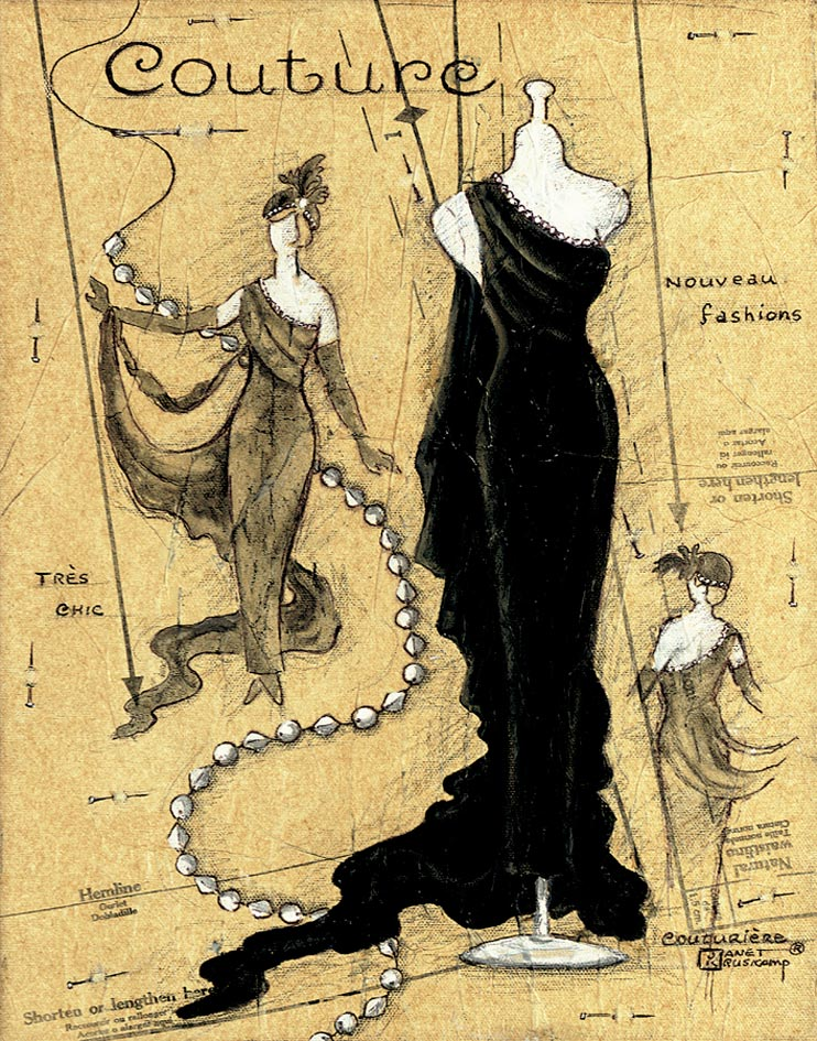 Couture II, original oil painting by artist Janet Kruskamp, also offered as a hand signed print on paper. This painting shows three different views of a chic black evening gown with one bare shoulder, trailing to the ground. A drawn dress pattern forms the background with a strand of pearls tying it all together weaving behind the dress form and models draped with the evening gown.
