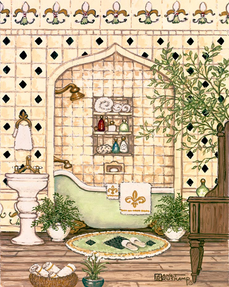 """Elegant Bath III,"" includes a pastel yellow tile wall with black diamonds framing an alcove holding an old fashioned claw foot tub sitting on a wooden floor, porcelain sink, cloth upholstered chair, a round bath rug with slippers, a small tree on the right side and ferns in planters in front of the tub. This paper print is hand by the artist, Janet Kruskamp."