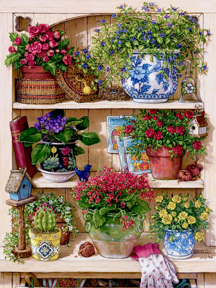 Flower Cupboard, one of Janet Kruskamp's Paintings of an overflowing cupboard of three shelves holding half a dozen different flowers, all potted in different pots and baskets, one small cactus plant and a small birdhouse sit in front of the flowers on the bottom shelf. One of the Gardens and Florals Gallery of Original Oil Paintings and  original paintings by Janet Kruskamp