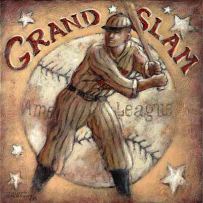 Grand Slam, one of the nostalgic posters from painter Janet Kruskamp. Evoking hot summer days in the heavy wool pinstripes, a batter cocks his bat over his left shoulder ready to swing for the fences. An almost sepia tone adds to the overall faded and aged look to this poster. A large baseball forms the background, now scuffed and worn, with the words American League across the ball. The phrase Grand Slam is curved in red over the top of the ball. A few white stars are scattered around the corners symbolizing All Stars of days gone by. This beautiful painting is available from the artist, Janet Kruskamp.