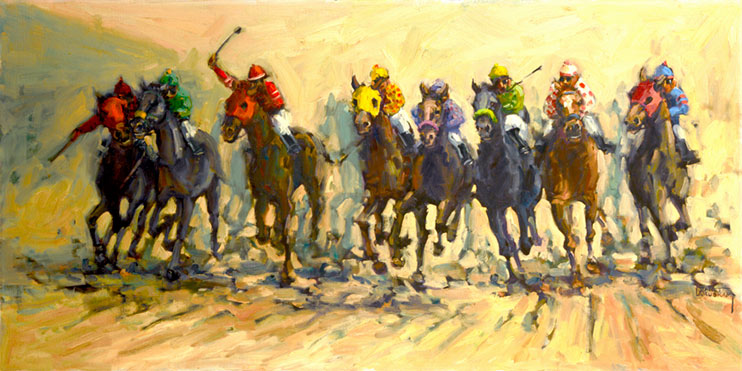 Into the Stretch depicts a hotly contested thorougbred horse race thundering into the stretch, dirt flying from eight horses hoofs as they run neck and neck toward the finish line. Brightly colored jerseys and helmets adorn the riders and they push their mounts to their utmost. This is an origlnal oil painting from artist Janet Kruskamp