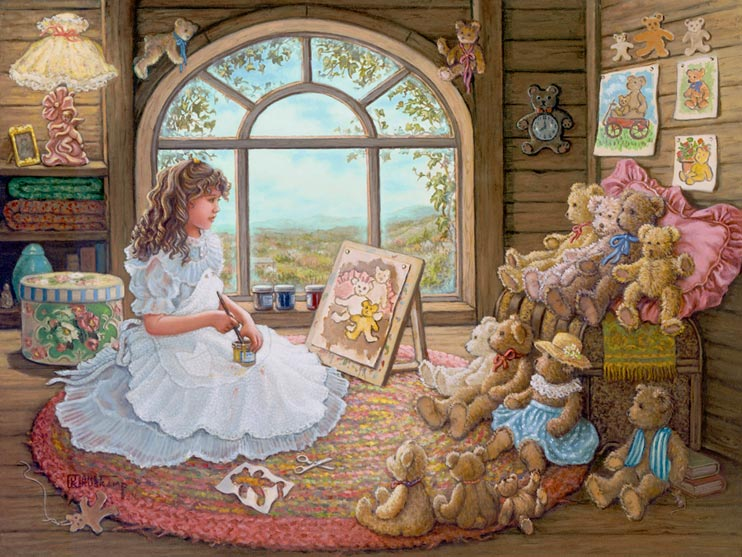 Jenny Paints Her Bears, a painting of a young girl with curly brown hair in the attic in front of a bright window painting her large collection of teddy bears sitting on and around an old trunk. The attic is decorated with other paintings of her teddy bears as well as other teddy bear memorabilia. One of Janet Kruskamp's Paintings - Figure and Genre Gallery - Original Oils and  original paintings, by Janet Kruskamp.