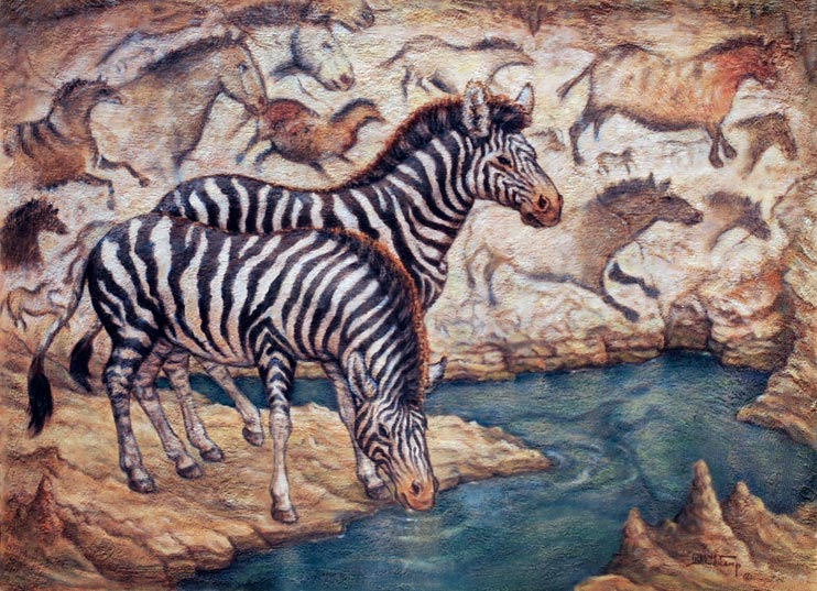 Lascaux Cave Revisited, an original oil and mixed media on canvas by artist Janet Kruskamp. A pair of zebras stand at the edge of a cave pool, the rock wall behind them echo the fluid equine form in cave paintings replicated from the Lascaux Cave in southwest France. Stalagmites on the edges of the crystal blue pool stick up from the rock ground as one zebra stands guard while the other drinks. The horse paintings are the foremost example of neolithic equine art, reflecting an intimate knowledge of the natural world by early humans over one hundred and seventy centuries ago.