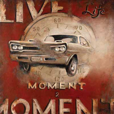 Live life, a dramatic new poster from artist Janet Kruskamp features a muscle car from the sixties bursting through the background of a dial speedometer. The weathered look, with parts of the poster looking like they were worn off or rusted gives a marvelous dimension to this exciting poster. The text Live Life Moment 2 Moment frames the car on a dark red background. Any grease monkey who has spent time under a hood or under a car will appreciate the impact of this poster. Order an original painting of this poster today.