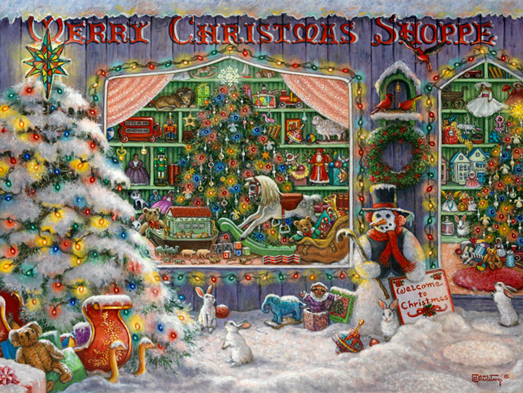 Janet Kruskamp's Merry Christmas Shoppe, Original Oil Painting