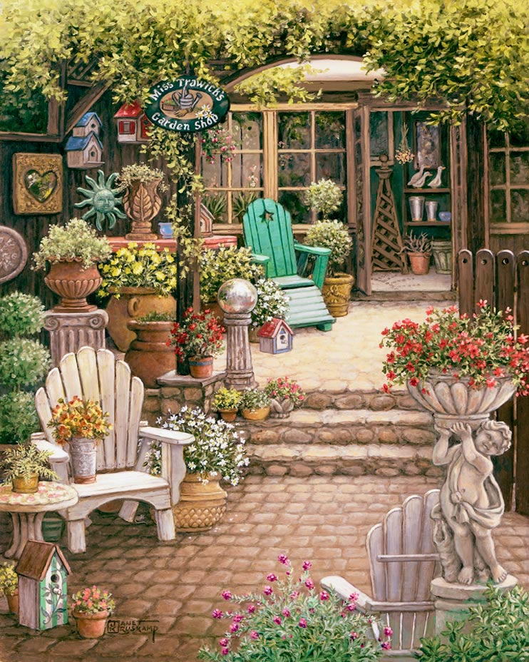 Janet Kruskamp 39 S Miss Trawick 39 S Garden Shop Original Oil