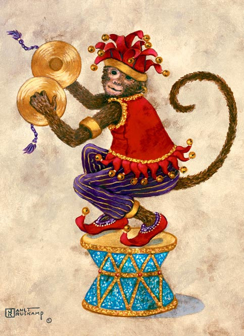 Monkey with Cymbals, an oil painting of a monkey clothed in purple striped pants, a red vest, red shoes and red jester's cap, squatting on a drum, holding cymbals ready to strike together. The painting has a wide brown decorated border framing an off-white background. One of Janet Kruskamp's original paintings,  by artist Janet Kruskamp