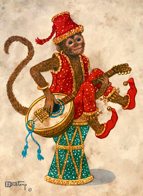 Monkey with Mandolin, an oil painting of a monkey clothed in red pants, a red vest, red shoes and red fez hat, sitting on a drum, holding a mandolin in his lap. The painting has a wide brown decorated border framing an off-white background. One of Janet Kruskamp's original paintings,  by artist Janet Kruskamp