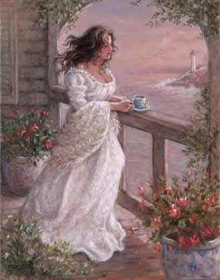Janet Kruskamp's Morning Breeze, an original oil painting available as an original painting in various sizes, personally by the artist. A beautiful woman, her dark hair moving in the coastal breeze, stands at the railing overlooking a lighthouse and the coastline, having her morning coffee. The muted colors of sunrise suffuse the scene with a warm light. Large flowerpots have perfect roses in bloom on either side of the woman. The arch over the handrail is framed in climbing green plants, and more small white flowers balance out the frame. Order your original painting of this charming scene by Janet Kruskamp today
