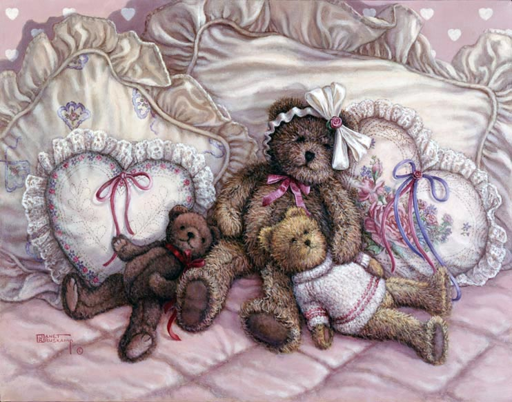 Nap TIme, a painting of three teddy bears reclining on the pillows of a bed, one of the Janet Kruskamp Teddy Bear Gallery of  original paintings by Janet Kruskamp