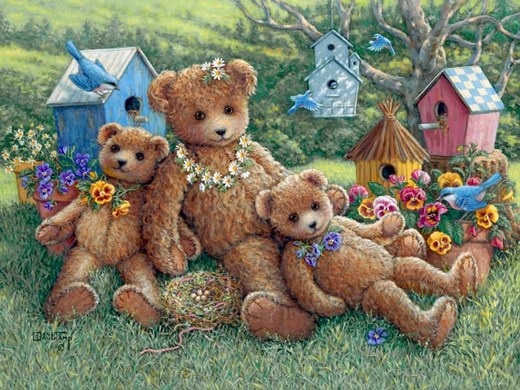 Pansy, Daisy and Viola, a painting of three bears on the lawn with a backdrop of their namesake flowers, many birdhouses and birds, one of the Janet Kruskamp Teddy Bear Gallery of Original Oil Paintings and  original paintings by Janet Kruskamp