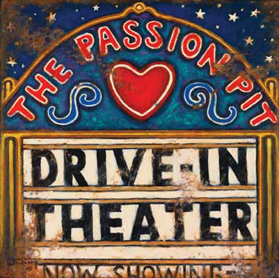 The Passion Pit, another name for the drive-in movie, is the title of this poster from Janet Kruskamp, one of her series of vintage movie posters. This whimsical version of the drive-in marquee features a starry sky, perfect night for a drive-in movie. The sign curves the red text THE PASSION PIT across the top and over the big red heart. Directly under is the black block text DRIVE-IN THEATER, followed underneath with smaller letters reading NOW SHOWING. Drive-in theaters, often used as a passion pit, were once the only place to go to be alone with your date. Drive-in theater management often abetted this behavior by running movies of laughable quality, knowing full well that no one came to actually see the movie. With a multitude of other entertainment choices now, the weathered look of this poster sadly reflects the decaying state of most of the remaining drive-in theaters.