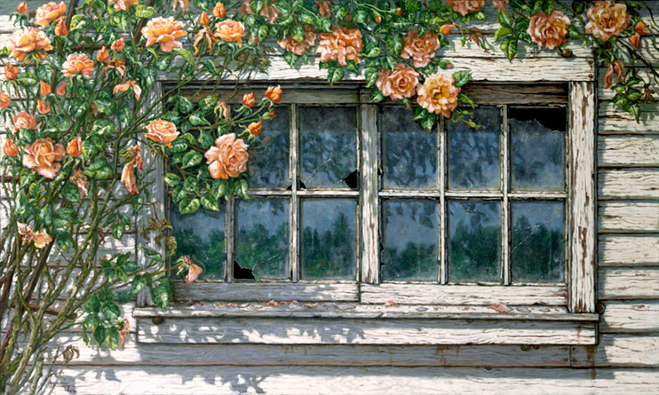 Peace (Climbing Roses) Is A Realistic Painting Of A Weathered Window With A  Couple