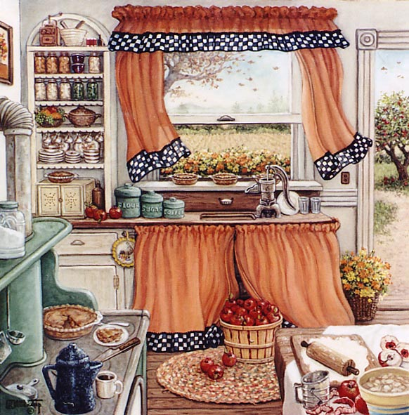 Pie Baking Day, an original oil painting by the artist Janet Kruskamp showing a kitchen scene with orange curtains trimmed with black and white checkers framing a half open window looking out to the fields. A tree stands outside the open kitchen door. All the necessary ingredients and utensils for baking apple pies are in use in this small kitchen. Apples are being peeled and cored on the table on the right. A flour crust is being rolled out after sifting with a wooden rolling pin. Two pies cool in the window sill above the sink, another sits on the pale green stove with a slice served up on a white plate accompanied by a cup of coffee from the blue enamel coffee pot. Shelves on the far wall hold preserved food and the family dishware. One of the Garden and Florals Gallery by Janet Kruskamp.