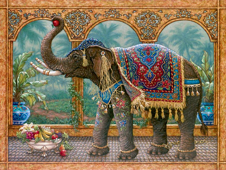 Rajah's Feast, an oil painting of a royal elephant who has broken his golden chain to feast on the fruits and flowers in front of a verdant landscape topped by palm trees. His tusks are banded in gold, tassels and bells hang over bright drawings of flowers going down the elephant's front legs., one of Janet Kruskamp's Original Oil Paintings by artist Janet Kruskamp