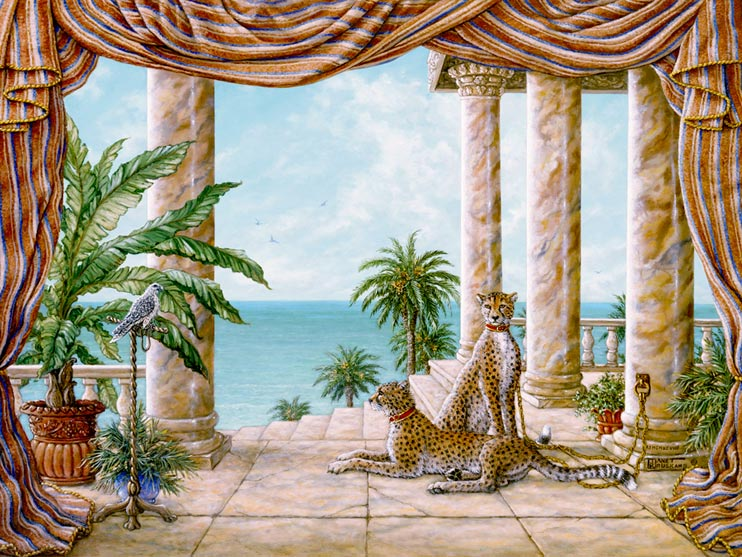 Royal Hunters, a painting of two cheetahs tied to a column at shoreline palace, one of Janet Kruskamp's Original Oil Paintings, ,  by artist Janet Kruskamp