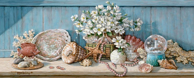 Janet Kruskamp's Paintings - Sea Shell Collection I, an original oil painting of a wooden shelf holding a sea shell collection against a light blue wooden wall. A basket with a large bouquet of white flowers is surrounded by scallop, abalone, turban, whelk shells as well as a piece of coral. An artificial tropical fish swims in front of a display on the left. A snowglobe of a lighthouse sites on the left as a single strand of small pink shells weaves around a sand dollar in the center. One of the Still Lifes Gallery of Original Oil Paintings and  original paintings by Janet Kruskamp