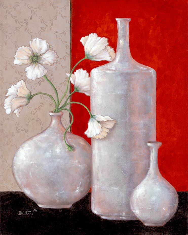 Janet Kruskamp's Paintings - Silver Leaf and Poppies II, an original oil painting of three beautiful silver leaf vases. One large bulbous vase holds white poppies with fringed petals. The center is commanded by a tall, cylindrial short necked empty round vase. The right vase is much smaller, with a narrow, delicate neck. The background is split between a dark rich red on the right, and a light gray pattern, with the vases sitting on a black suface. One of the Garden and Florals Gallery of original oil paintings or  original paintings by the artist, Janet Kruskamp