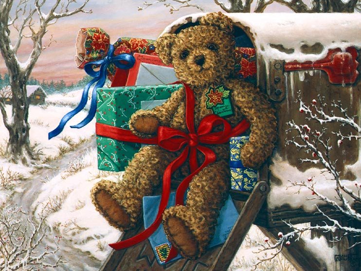 Special Delivery, a new holiday painting from Janet Kruskamp. It's a good thing teddy bears have nice fuzzy coats, this bear is sitting in an overstuffed mailbox outside in the snow. Barely seated at the front of the open mailbox, wrapped presents and brightly colored envelopes, the brown bear is tied with a bright red ribbon to a present wrapped in green patterned wrapping paper The icy road under the mailbox curves its way up toward the house in the distance. Framed by snow covered tree branches, this painting shows the wooded horizon with pastel colored bands of clouds in the sunset.