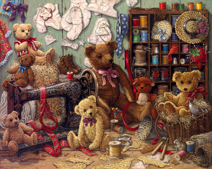 Janet Kruskamp S Teddy Bear Workshop Original Oil