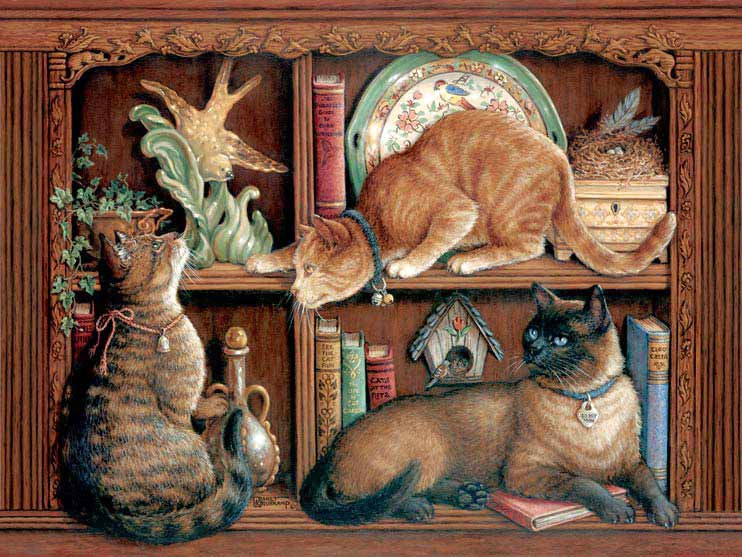 The Birdwatchers, a painting by Janet Kruskamp depicting three cats on two bookshelves, two cats stalking a ceramic bird, part of the Cat Paintings Gallery of original oil paintngs by Janet Kruskamp.