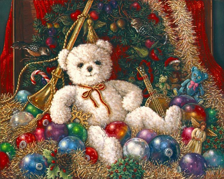 The Christmas Bear, a new holiday painting from Janet Kruskamp. A smiling, fuzzy white bear reclines amidst holiday splendor. Languidly reclining on a bed of tinsel garlands, ornaments, musical toys and an angel, our bear's sole decoration is a thin holiday ribbon in red and gold tied in a bow around it's neck. The background is decorated in fruit, birds, teddy bear ornaments and evergreen boughs. The bear cradles an elaborate gold star ornament under it's right arm. Another beautiful holiday bear painting from Janet Kruskamp.