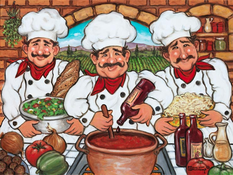 Three Happy Chefs, another original painting available from Janet Kruskamp Studios. This colorful image features three chefs dressed in kitchen white with hats, and a bright red kerchief around each one's neck. In the center, a chef is adding a drop of wine to the pot of red sauce simmering on the stove. The chefs on either side hold a bowl of salad and a bowl of pasta noodles. Ingredients cover the counter in front of the chefs, onions, tomatoes, peppers, garlic, oil, wine and meatballs. The brick back wall looks through an arched window to the farm rows behind. This tasty painting is available for purchase as an original oil or acrylic on canvas painting by the artist Janet Kruskamp.