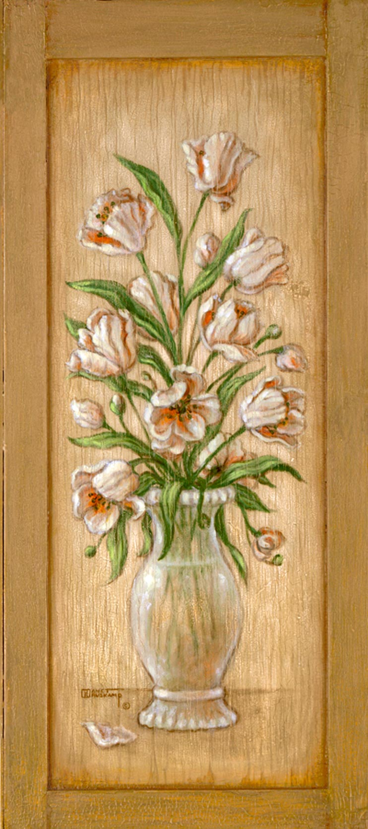 Janet Kruskamp's Paintings - Tulip Cupboard, an original oil painting on an antique cupboard of an elegant vase holding an arrangement of tulips. One of the Gardens and Florals Gallery of Original Oil Paintings and  original paintings by Janet Kruskamp