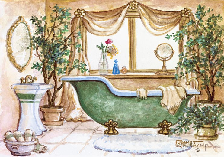 Vintage Bathtub II, An Enticing Table Is Set For Brunch For Two In Front Of