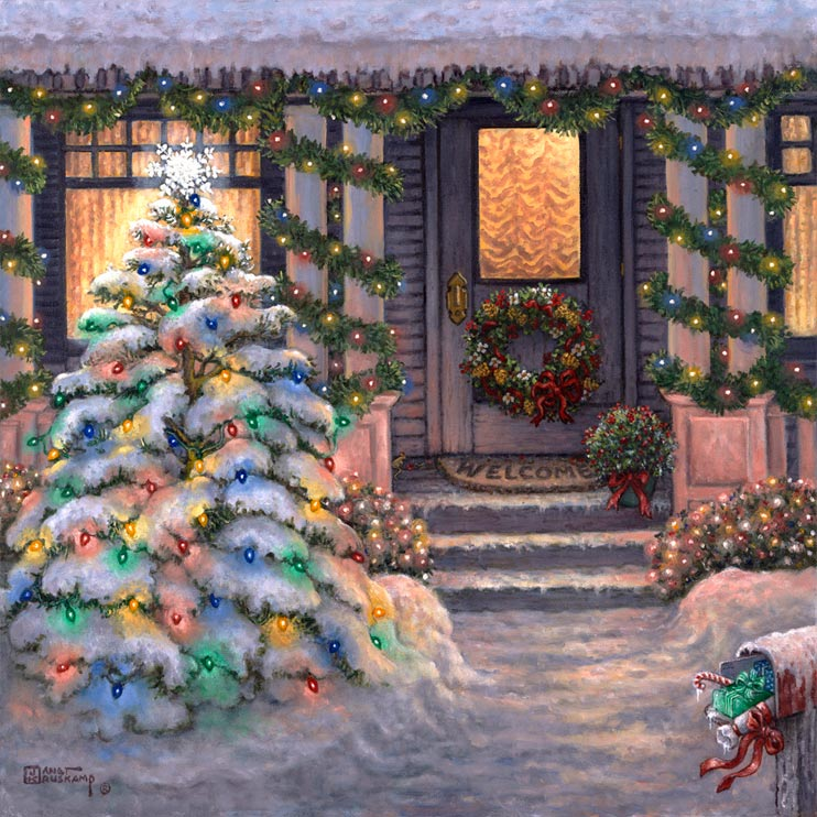 Janet kruskamp 39 s welcome to christmas original oil painting for Christmas images paintings