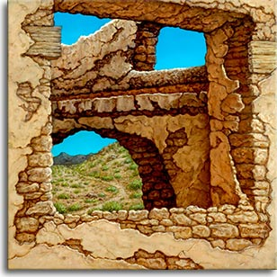 Adobe Near Taos II, a landscape painting by world famouse artist Janet Kruskamp. A view through a crumbling adobe shows a dirt trail winding up the craggy hill, a small mountain in the backround. The azure sky shows through at the top of the adobe brick building, with overlying plaster falling into decay exposing the old adobe block. One of the Interiors and Exteriors Gallery by Janet Kruskamp.