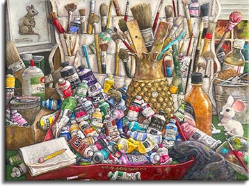 This painting reflects the professional artist's world, overflowing with paint tubes and paint brushes of every conceivable hue, size and shape. The variety of colors on the used paint tubes cover the spectrum - blues, reds, greens, orange, yellow, purple and many more. Bottles of lacquer and thinner are in the mix, along with a model of her trademark mouse that appears in almost all of her paintings. A stylized metal pineapple holds a ruler and an assortment of brushes. A white cloth hanging shoe holder holds more brushes and and occasional paint tube. An incredibly detailed painting by painter Janet Kruskamp.