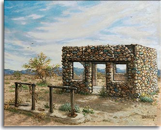 Beyond Hope, Arizona, an original oil painting by Janet Kruskamp is a landscape of the Southwestern desert showing an old roofless building made of a colored stone facade, offering an view straight through to the mountains in the distance. Two hitching posts stand out front as a mute reminder of days of horse travel. A few dry trees break up the view to the distant mountains and high thin clouds paint the cyan sky a wispy white.