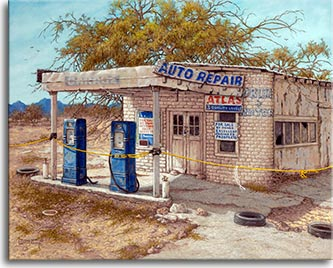 Excellent Business Prospects, a dusty dry crumbling abandoned gas station roped off by a yellow rope. Two old-fashioned blue gas pumps sit out front of the small adobe brick building. For sale signs adorn the front, one eclaiming Excellent Business Prospects. The background is empty desert punctuated by a few stands of trees leading to blue mountains in the distance. A large tree breaks up the blue sky directly behing the building. Another original oil painting on canvas by artist Janet Kruskamp