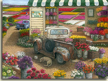 "A rainbow of flower colors, both in the fields and cut, ready for your vase, brighten this painting by Janet Kruskamp. Every imaginable type and color of flowers are shown here, the brightly colored fields of flowers in the background are visible through the wooden storefront. A colorful green and white awning tops the simple wood frame shop, fronted by the sign ""Field to Vase"" and the Spring/Summer price list on the other side of the ample doorway. Old pickup trucks hold containers of cut flowers ready to purchase. A sleeping dog lies in the shade beside the pickup in the foreground, a bowl of water by his side."