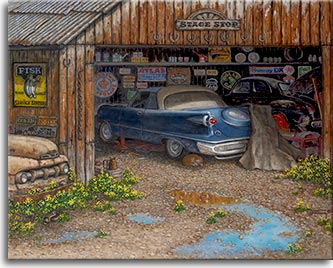 The Collector, a painting by artist Janet Kruskamp, presents the contents of the collector's garage. Vintage signs, oil cans and auto parts line the shelves and walls of the garage, inside and out. A classic blue two-door coupe with large fins sits in front of an older black car. The front grille of a pickup truck peeks out from the side of the garage while a ginger tabby cat naps under the blue car. The sky and building is reflected in the puddles in the driveway. Over the wide open garage door is a sign Stage Stop with a row of  horseshoes nailed  under the sign. Vintage license plates finish off the side of the garage.